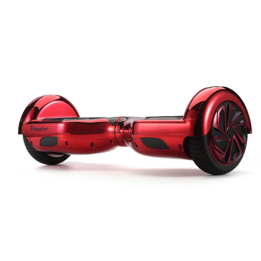 Glide (metallic red) front angle hoverboard view