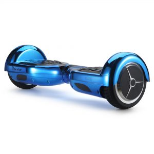 Glide (metallic blue) front angle hoverboard view